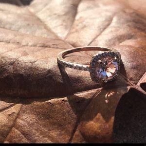 Morganite and Diamond Rose Gold Engagement Ring
